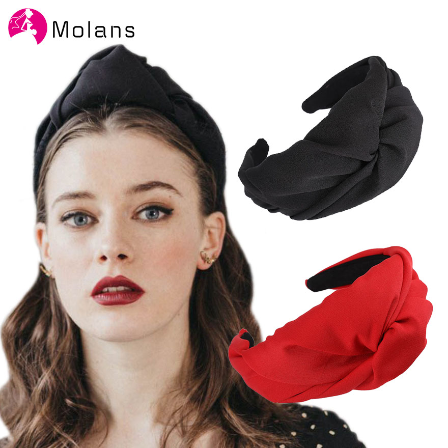 Molans Big Cross Knot Hairbands Women's Headbands 2019  Solid Wide-brimmed Winter Headbands Top Twisted Knotted Hairband