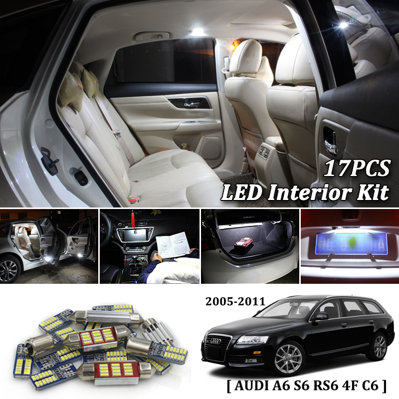 17X White Canbus Led Car Interior Lights Package Kit For AUDI A6 4F C6 S6 RS6 Avant 2005-2011 Car LED Light Interior Kit