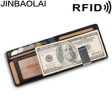 Jinbaolai aliexpress кожаный ультратонкий rfid бумажник