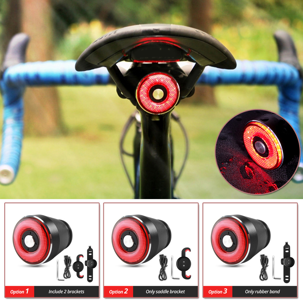 Bicycle Smart Brake Sensing Light Auto Start  40 * 34 * 34mm Waterproof USB Charging Cycling Taillight Bike Rear Light Accessory