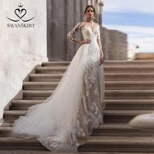 Langarm Abnehmbare Zug Hochzeit Kleid Swanskirt N151 Schatz Appliques Spitze Meerjungfrau Prinzessin Braut Kleid Vestido de Noiva