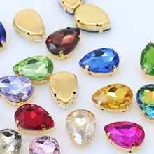 Все размеры слеза 24-Цвета из хрустального стекла для пошива камень шить на Стразы Драгоценности 4 отверстия бусины золотая основа кнопки для одежды ремесло