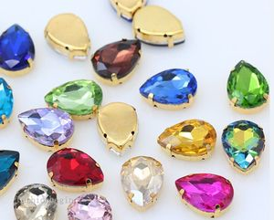 All-size Teardrop 24-Colors crystal glass sewing stone sew on rhinestone jewels 4-Hole beads Gold base button for clothes craft(China)