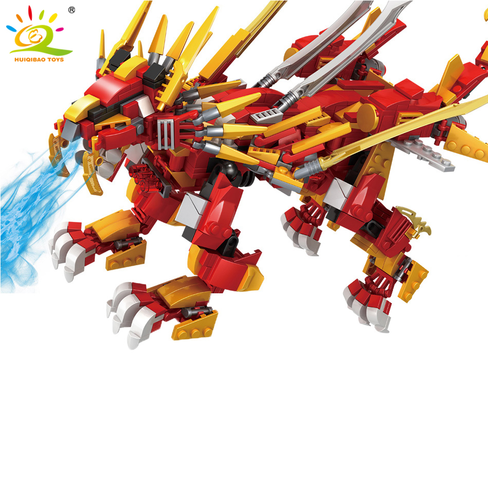 Huiqibao 800pcs Mecha Ninja Burning Lion Model Building Blocks