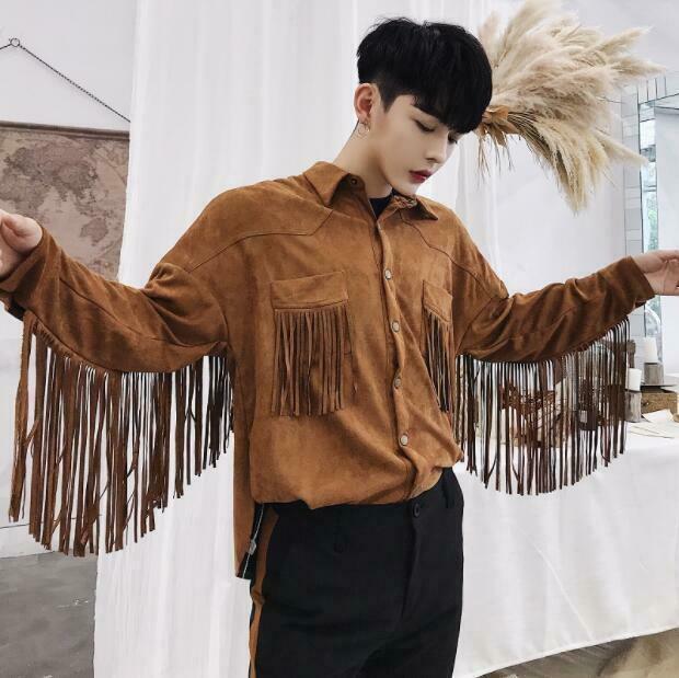 RWBN Youth Mens Autumn Fringe Long Sleeve Shirt Jacket Fashion Casual Loose Tops