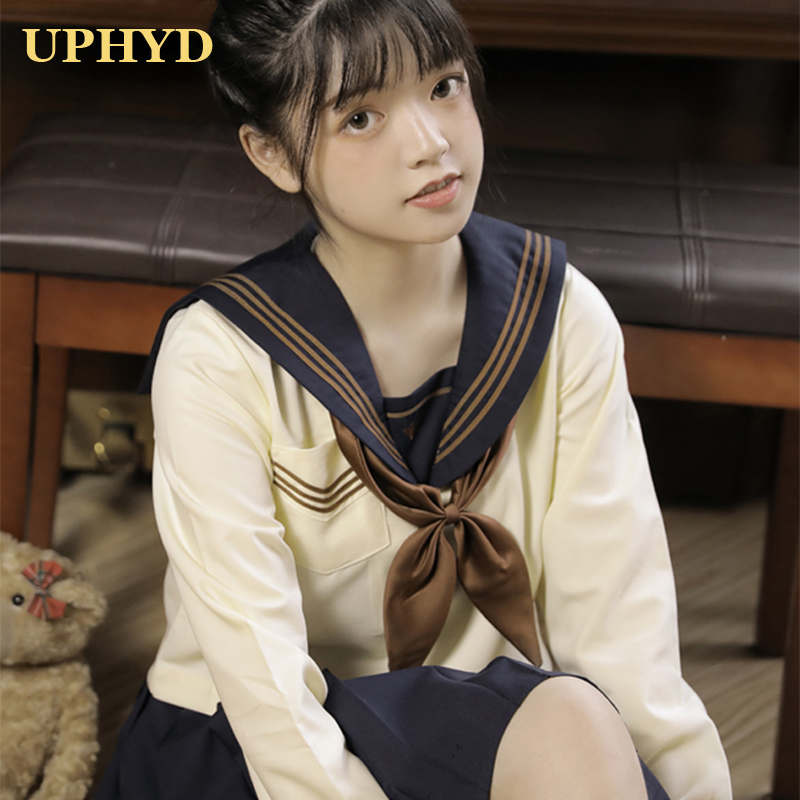 Academic Style Girl School Uniform Light Yellow Tops Pleated Skirt Cardigan Sets Japanese Sailor Uniforms