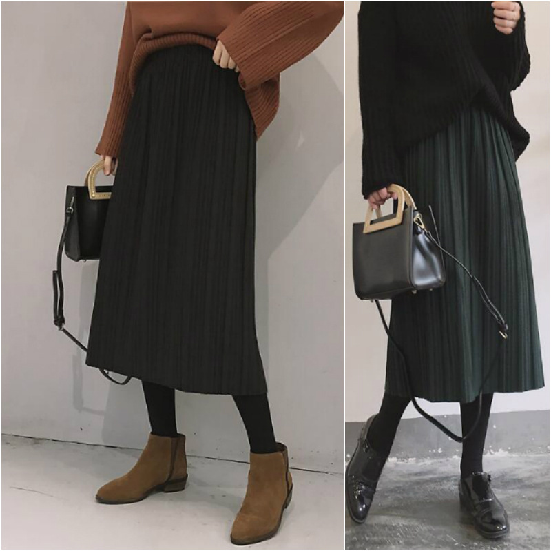 Hong Kong Flavor CHIC Elastic High Waist Skirt Women's Laziness-Style 2019 Autumn And Winter New Style Fashion Pleated A- Line S