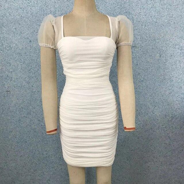 (Sospebgy) Hot Sale Women's Dress Pleated Square Neck Puff Sleeve Compact Slim Sexy Mini Hip  Party Club Bandage Dresses 9