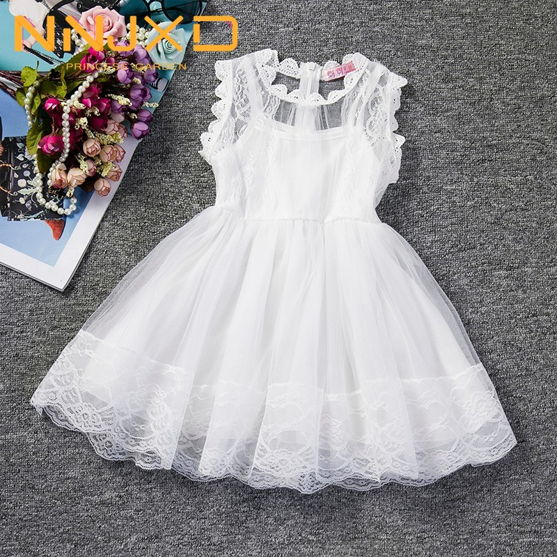 Baby Girl Floral Lace Princess Tutu Dress Wedding Christening Gown Dress Girls Clothes For Kids Party Wear Meninas Vestidos 2 6Y 1