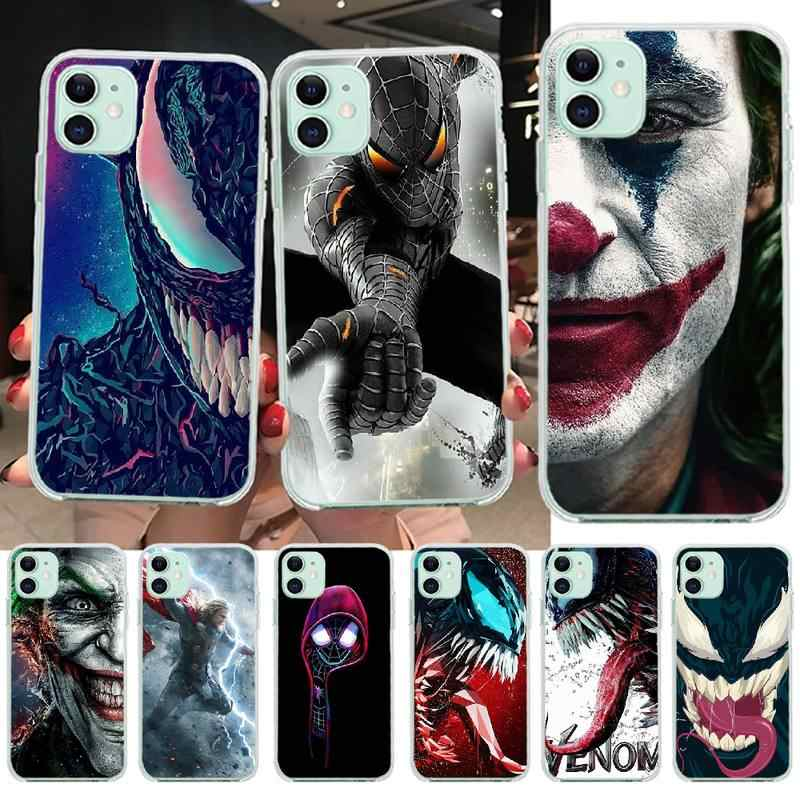 PENGHUWAN Marvel Joker Venom 스파이더 맨 사용자 정의 사진 소프트 폰 케이스 for iPhone 11 pro XS MAX 8 7 6 6S Plus X 5S SE XR 커버