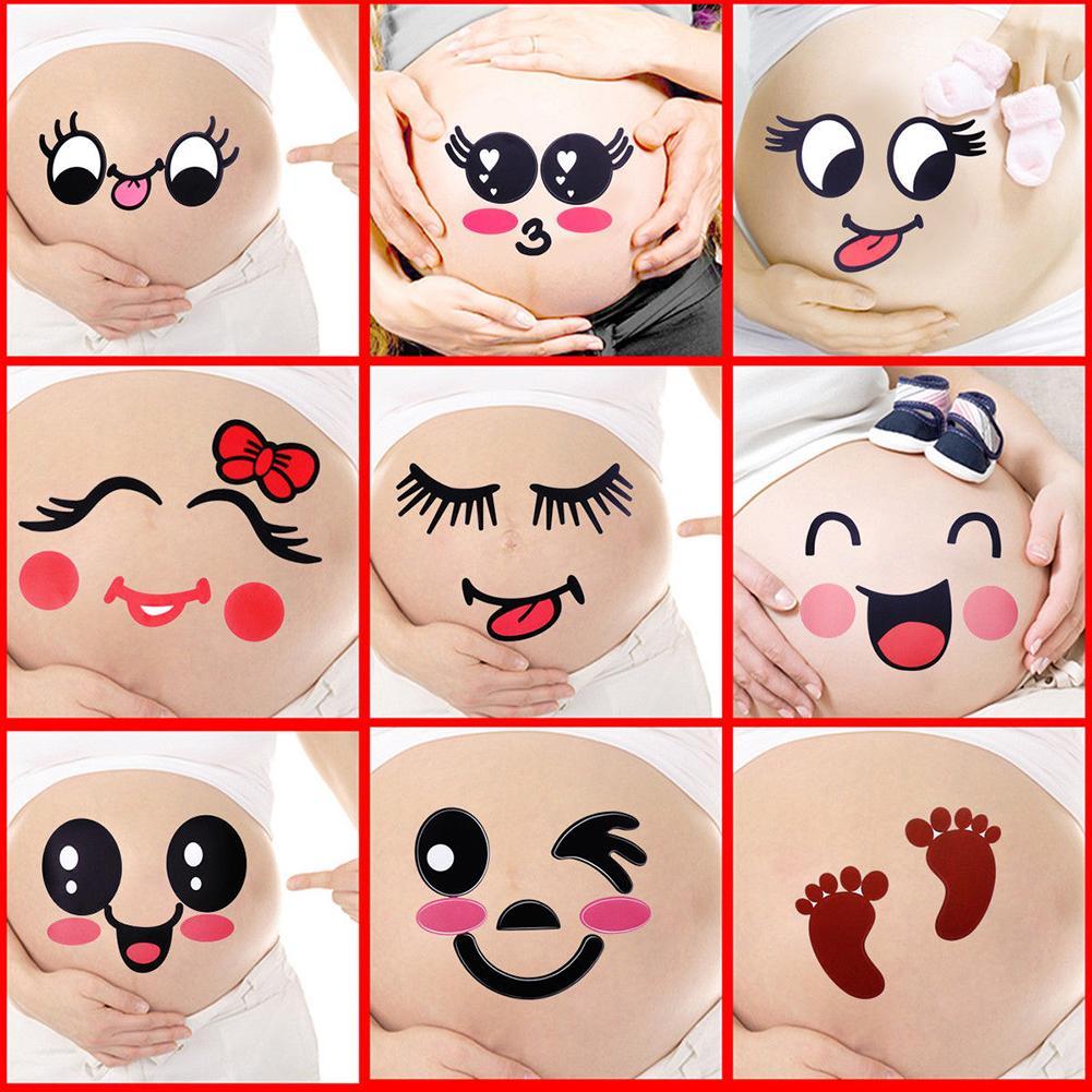 2Pcs Cute Cartoon Expression Pregnant Facial Stomach Belly Sticker Photo Prop