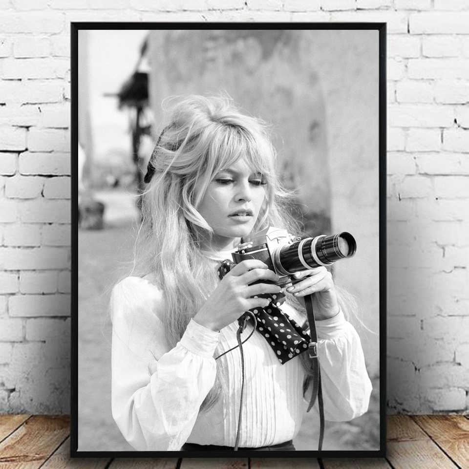 Brigitte Bardot French Fashion Poster Canvas Art Prints Black and White Model Photo Vintage Picture Art Wall Home Decor