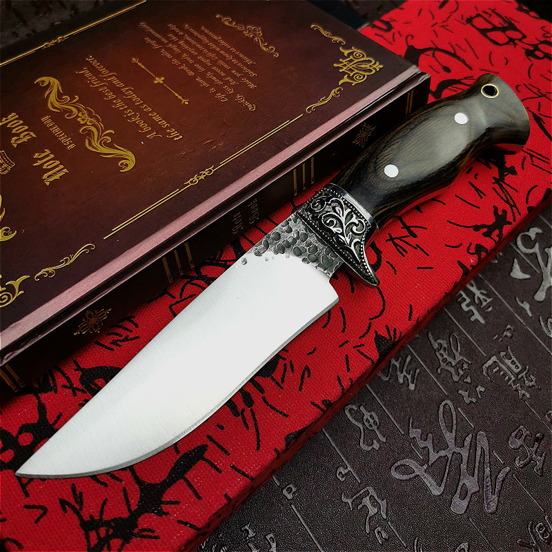 PEGASI  Vacuum forging integrated steel mirror light tactical straight knife ebony handle for outdoor hunting straight knife