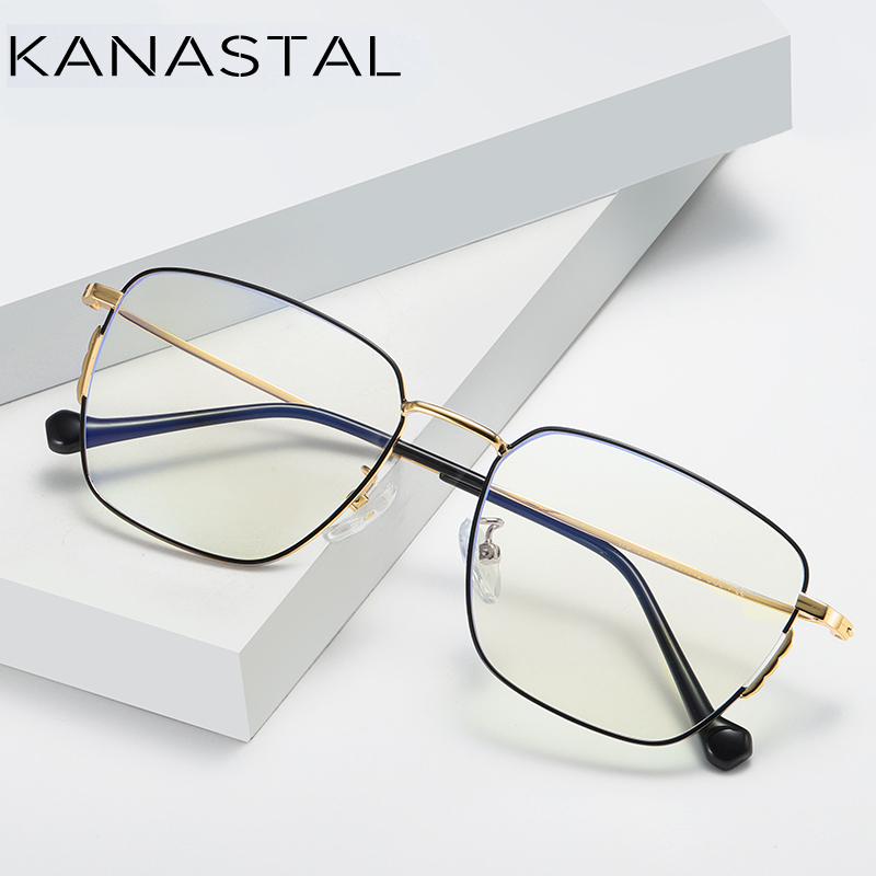 Image 4 - KANASTAL Anti Blue Rays Computer Glasses For Women Glasses Men Anti Rays Radiation Eyewear Frames Metal Unisex Blue rays glasses-in Women's Blue Light Blocking Glasses from Apparel Accessories
