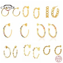 CANNER – boucles d'oreilles en argent Sterling 925 en forme de C, bijoux de luxe en Zircon coloré pour femmes, Piercing, pendentifs