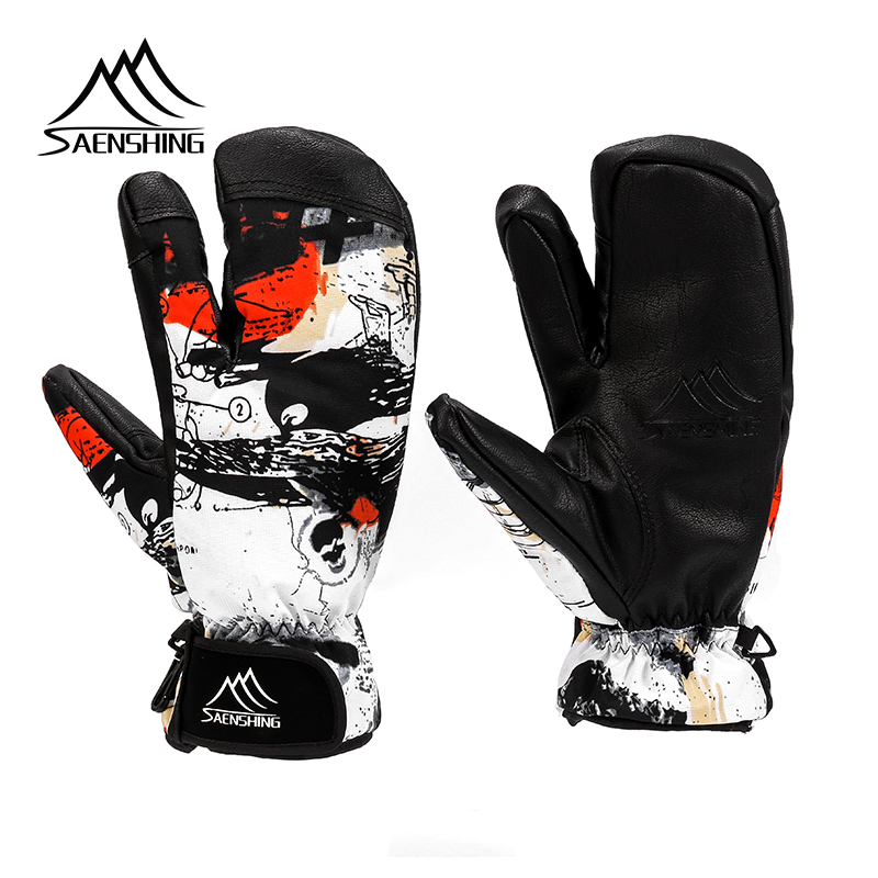 SAENSHING Ski Gloves Women & Men 3 Fingers Snowboard Gloves Snowmobile Winter Skiing Windproof Waterproof Unisex Snow Gloves