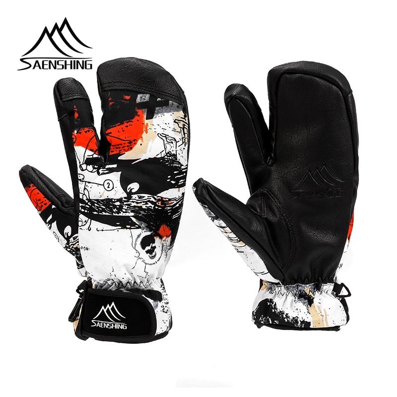 SAENSHING Ski Gloves Women & Men 3 Fingers Snowboard Gloves Snowmobile Winter Skiing Windproof Waterproof Unisex Snow Gloves