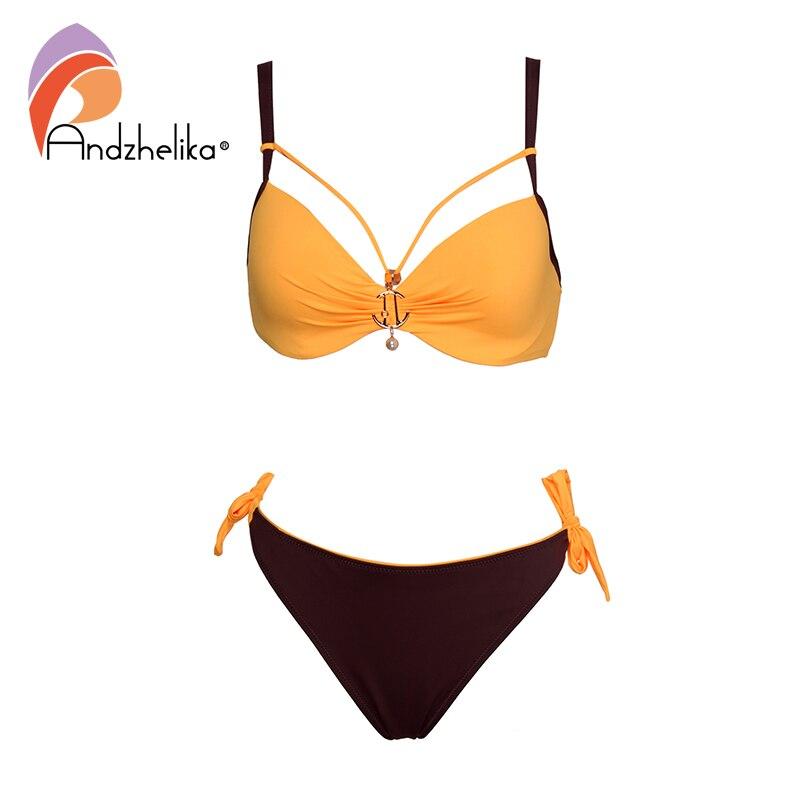Andzhelika Solid Patchwork Bikini 2020 New Summer Sexy Push Up Bikini Set Metal Brooch Plus Size Swimwear Bathing Suits Monokini