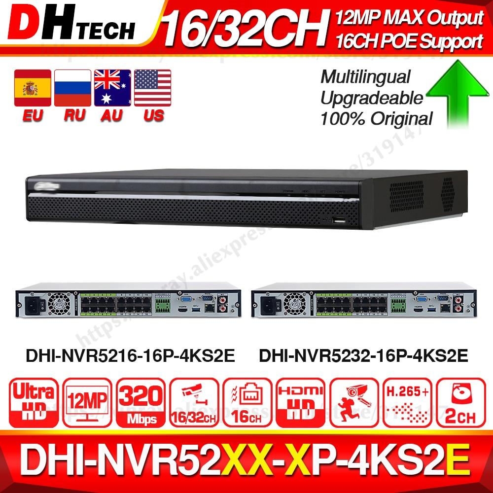 Dahua pro 32ch nvr NVR5232-16P-4KS2E com 16ch poe porta suporte em dois sentidos falar e-poe 800 m max gravador de vídeo em rede para o sistema.