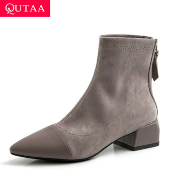 QUTAA 2020 Patchwork Cow Leather Flock Zipper Fashion Ankle Boots Sexy Pointed Toe Square Heel Winter Women Shoes Size 34-39