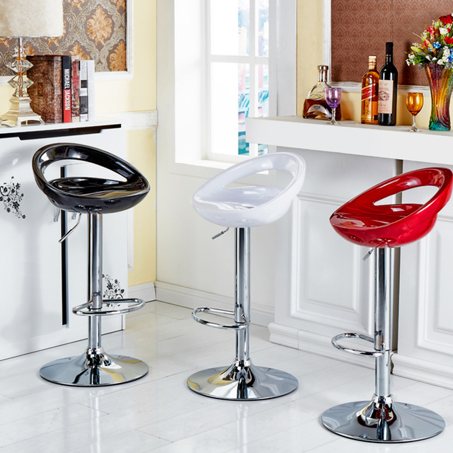 2Pcs/Set 4 Color Simple Casual European Style ABS Bar Chair Bar Stool Kitchen Backrest Chairs Height Adjusted Home Furniture HWC