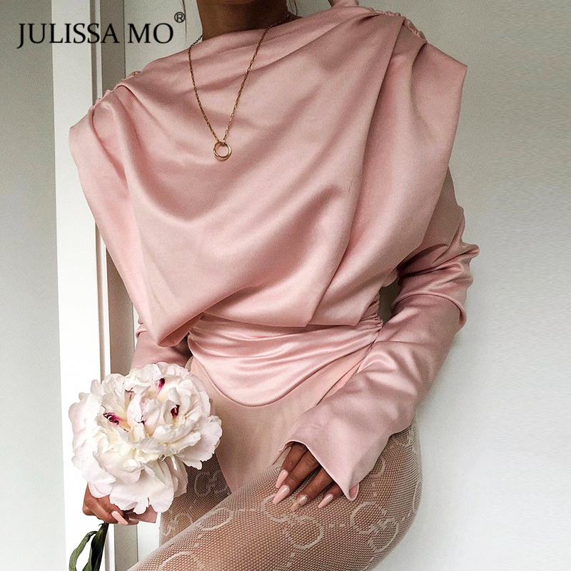 JULISSA MO Pink Satin Backless Sexy Women Bodysuit Elegant Long Sleeve Mock Neck Rompers Jumpsuits Office Ladies Basic Body Tops
