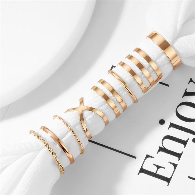 Оригинальный дизайн золотистого цвета, круглые полые геометрические кольца, набор для женщин, модное перекрестное кольцо, Открытое кольцо, женское ювелирное изделие 4
