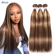 Allove destaque pacotes de cabelo humano em linha reta do osso pacotes p4/27 pacotes ombre remy feixes tecer cabelo brasileiro com destaques