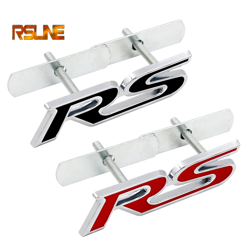 1 PCS  3D Metal Car Grill RS Modified Standard Car Logo Metal Car Logo Cool Car Sticker After Decoration  Car Decoration