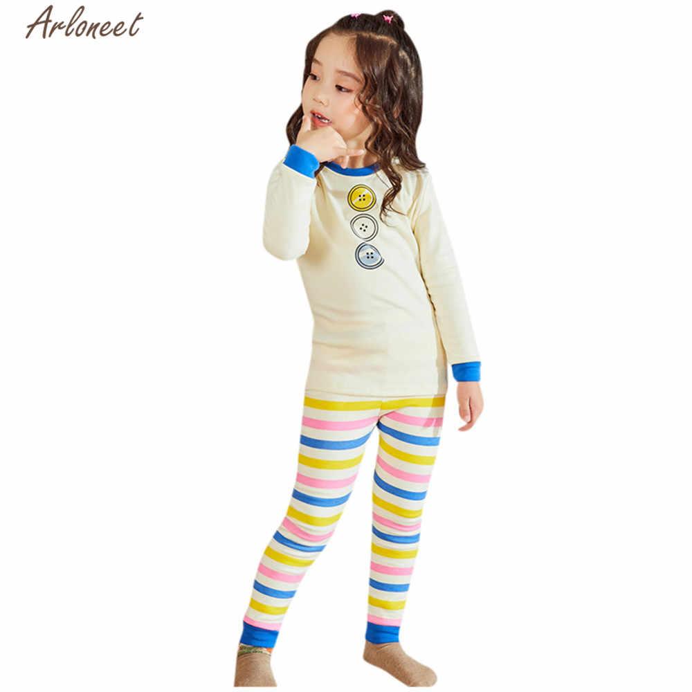 ARLONEET בגדי בנות בני Cartoon ארוך שרוול פיג 'מה 2019 ילדים חם מקרית כותנה חולצות פסים מכנסיים פיג' מה תלבושות סט