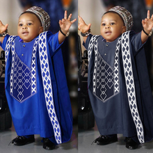 H&D African Clothes For Kids Boys Short Sleeve T-shirt Embroidery Dashiki Robe Shirt Pant Set 3 PCS Agbada Suit Children Attire