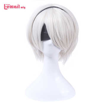 L-email wig Nier Automatas 2B 9S Cosplay Wigs White Short Men Cosplay Wigs Halloween Heat Resistant Synthetic Hair No.2 Type B - DISCOUNT ITEM  25% OFF All Category
