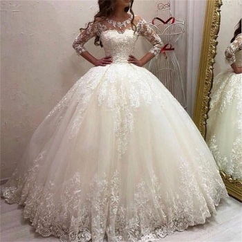 Princesse Ball Gown Wedding Dresses 2020 Scoop Tulle and with Appliques Bridal Gowns Robe De Mariee Sweep Train Vestido De Noiva ball gown wedding dresses 2019 elegant lace appliques tulle wedding gowns long sleeve bridal dresses white vestido de noiva