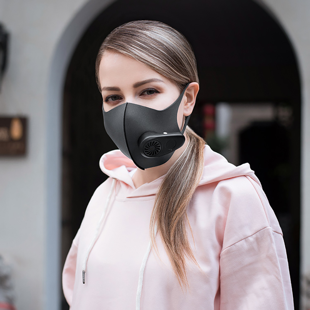 Adult Dust Particulate Respirator Electric Smart Mask Dust Air Pollution Protective Electric Black Masks With Replacement Chip