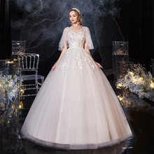 2021 New Sexy V-neck Batwing Sleeve Pregnant Wedding Dress Classic Lace Flower Plus Size Lace Up Ball Gown Vestido De Noiva