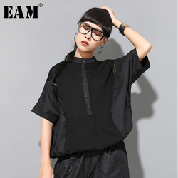 [EAM] Women Black Letter Hollow Out Big Size T-shirt New Stand Collar Half Sleeve Fashion Tide Spring Summer 2021 1W046