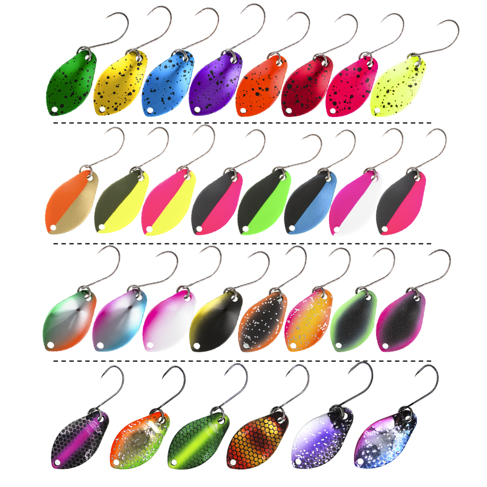 Jerry 2g 3g Ultralight Micro Area Trout Spoon Kit Spinners Baubles Glitters UV Color Glowing Fishing Lures Set