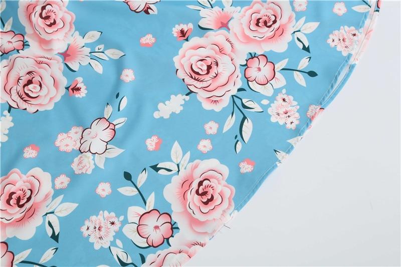 Summer Floral Print Elegant A-line Party Dress Women Slim White Short Sleeve Swing Pin up Vintage Dresses Plus Size Robe Femme 127