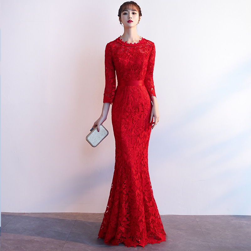 Dress For Toast Bride 2019 New Style Spring Summer Marriage Engagement Huimen Fishtail Explicit Thin Long Return Feast Formal Dr