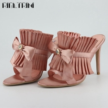 RIBETRINI Sexy High Thin Heels Shoes New Unique Party Dress Pleated Women Mules Summer Sweet butterfly-knot