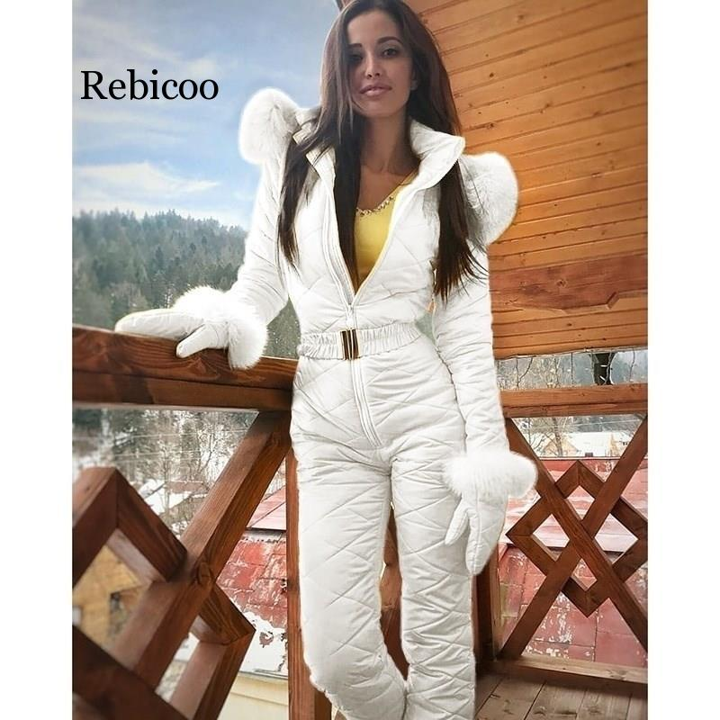 Winter Hooded Jumpsuits Parka Fashion Padded Warm Sashes Ski Suit Zipper One Piece Women Casual Jumpsuits