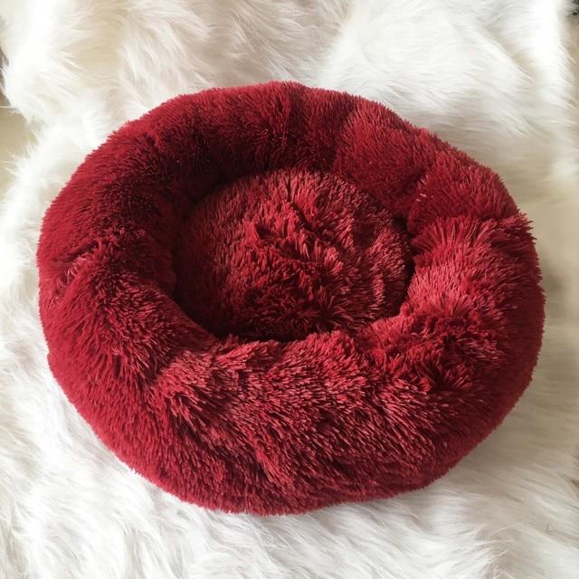 Fluffy Pluche Donut hondenbed Kleur Wijn rood 1