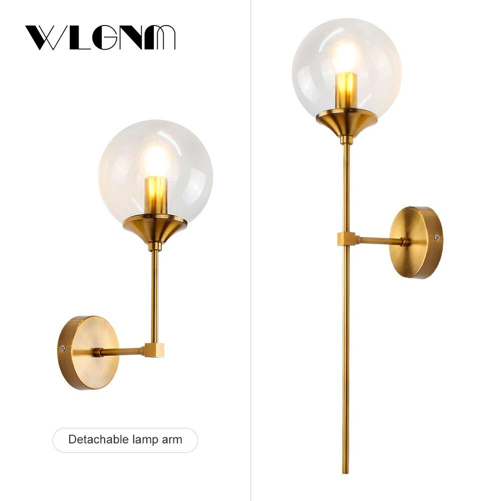 Glass Wall Lamp Modren Wall Lights Gold Light Wall Sconce For Bedroom Bedside Aisle E14 Indoor Lighting Home Decoration Fixtures