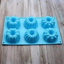 6 kaviteler silikonlu donut kek kalıp silikon Muffin pişirme kalıp çiçeği kek tava k968