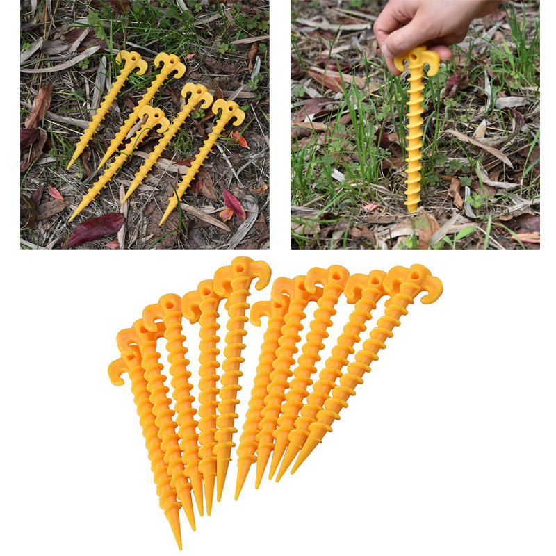 10pcs Tent Pegs Hook Plastic Stakes Support Ground Nails Tent Pegs Screw Anchor Shelter Aluminum Tent Stake with Rope Outdoor P