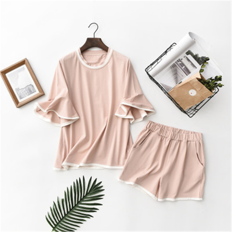 2020 Lovely Pink Short Sleeve Shirt+Shorts 2 Pieces Set Women's Loose Cotton Atoff Home Female Summer Pijamas Ladies Homewear