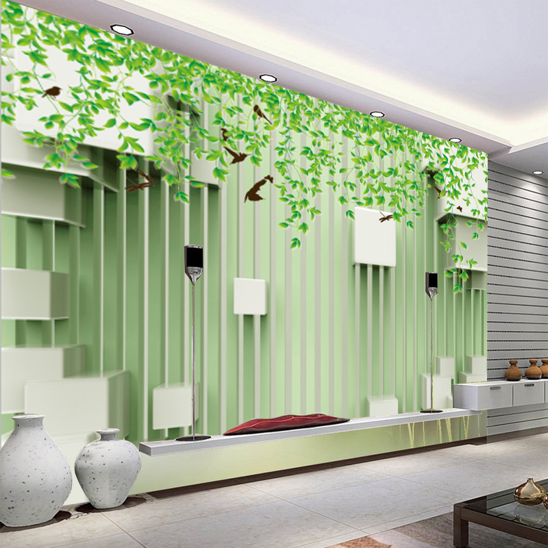 3D TV Backdrop Wallpaper Minimalist Modern TV Wall Non-woven Wallpaper Living Room Sofa Mural Green Trees Vine