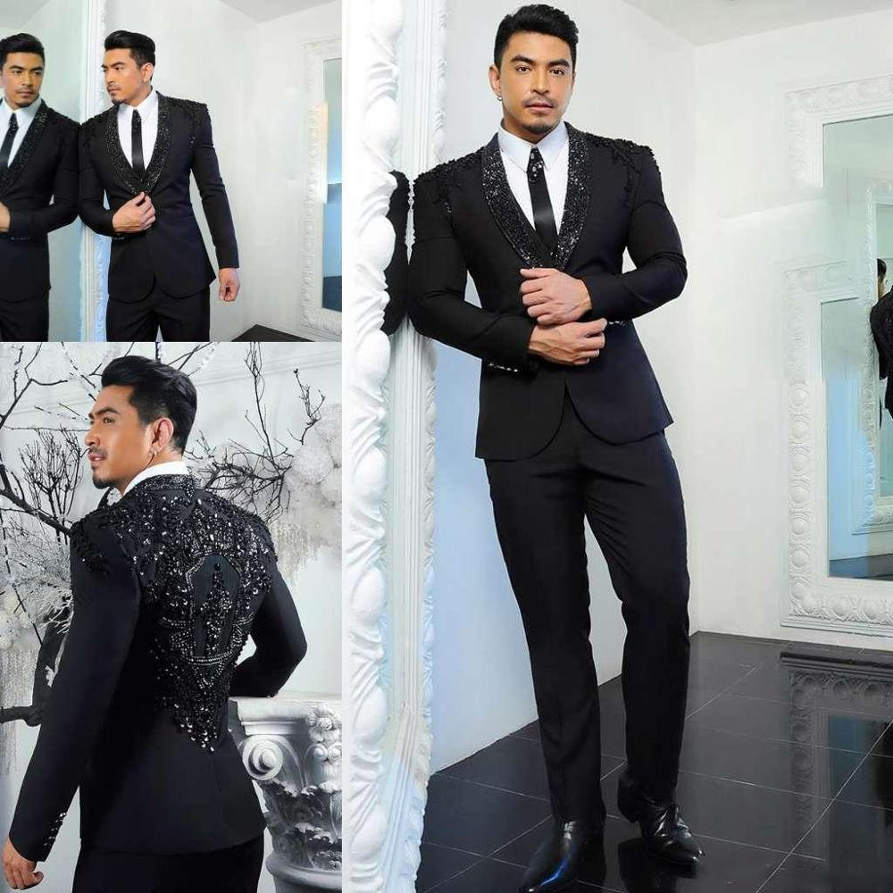 New Beading Men Suit Groom Tuxedos Groomsmen Formal Suits Business Men Wear(Jacket+Pants) Two Pieces Wedding Bestman Wear