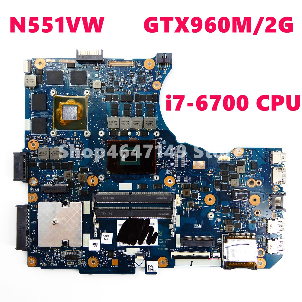 N551VW Motherboard i7-6700CPU GTX960M/2GB Mainboard For <font><b>ASUS</b></font> <font><b>N551V</b></font> N551 N551VW Laptop Motherboard Test ok image