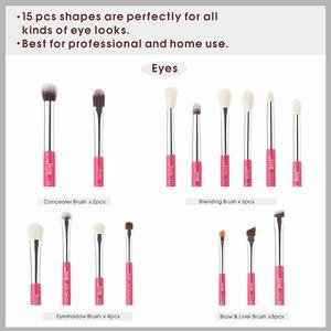 Image 4 - Jessup Pincel de maquillaje para ojos Kit de herramientas de belleza Sombra de ojos Barra de labios Lápiz labial Brochas de pelo de fibra Juego de pinceles 15 piezas Rosa carmín/Plata